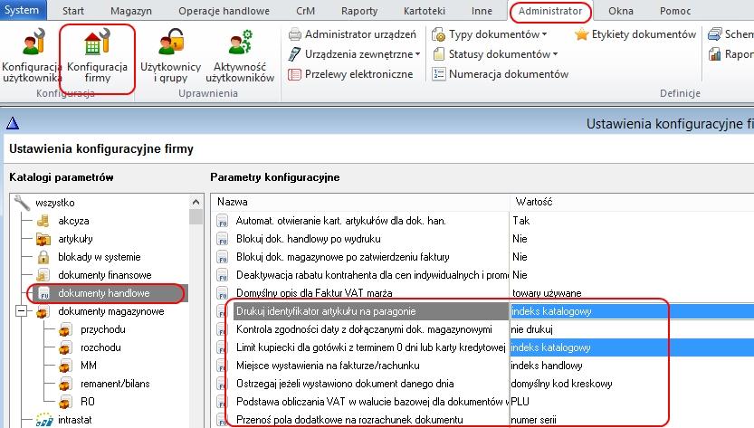 WF-Mag dla Windows, Oprogramowanie dla Firm, Drukowanie paragonów, Konfiguracja firmy WF-Mag